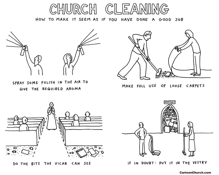 Church cleaning cartoon