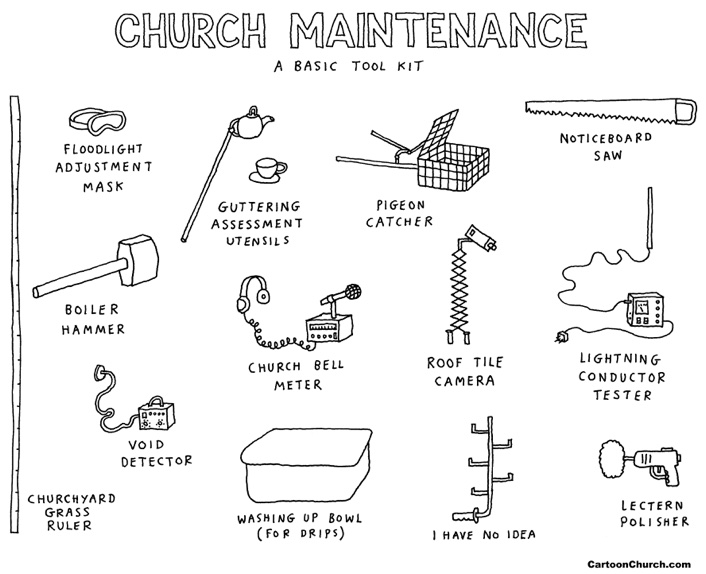 Church maintenance cartoon