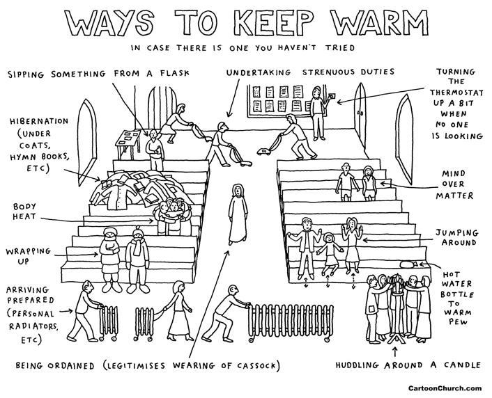 Keeping church warm cartoon